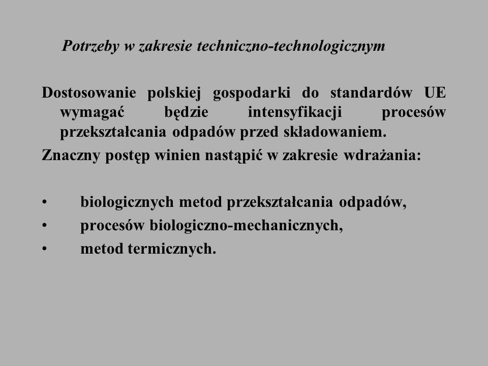 Potrzeby w zakresie techniczno-technologicznym Dostosowanie polskiej gospodarki do standardów UE wymagać będzie intensyfikacji procesów przekształcania odpadów przed składowaniem.