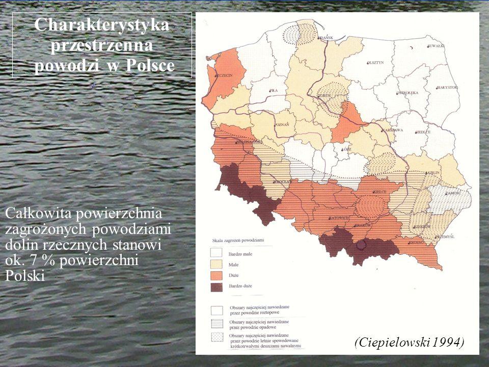 Charakterystyka przestrzenna powodzi w Polsce (Ciepielowski 1994) Całkowita powierzchnia zagrożonych powodziami dolin rzecznych stanowi ok. 7 % powier