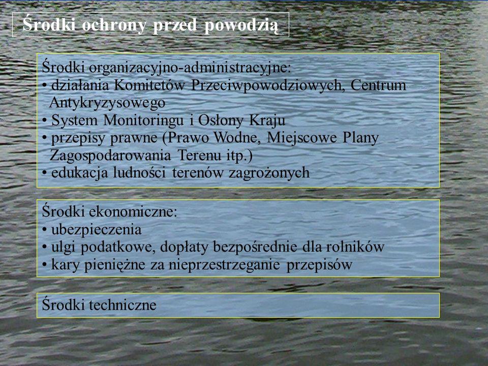 Środki ochrony przed powodzią Środki organizacyjno-administracyjne: działania Komitetów Przeciwpowodziowych, Centrum Antykryzysowego System Monitoring