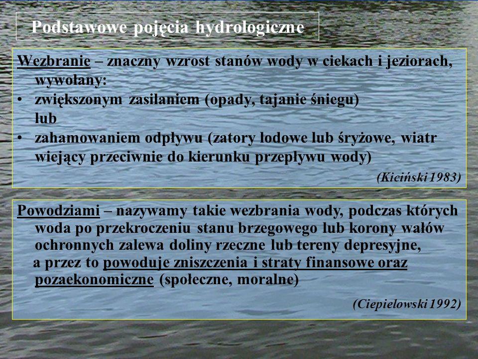 Podstawowe pojęcia hydrologiczne Wezbranie – znaczny wzrost stanów wody w ciekach i jeziorach, wywołany: zwiększonym zasilaniem (opady, tajanie śniegu