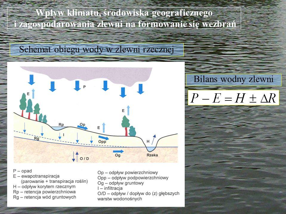Wpływ klimatu, środowiska geograficznego i zagospodarowania zlewni na formowanie się wezbrań Wielkość ewapotranspiracji w czasie sezonu wegetacyjnego (Ryszkowski i Kędziora 1987) Rodzaj użytkuE [mm] Zadrzewienie609 Łąka500 Pole rzepaku465 Pole buraków454 Pole pszenicy436 Gleba346