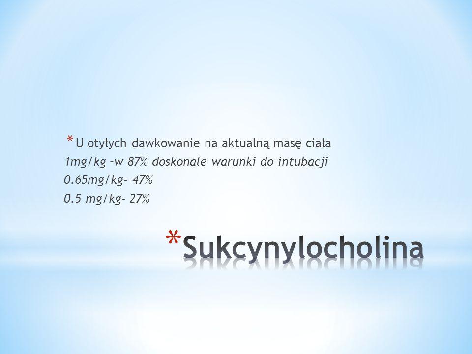 * U otyłych dawkowanie na aktualną masę ciała 1mg/kg –w 87% doskonale warunki do intubacji 0.65mg/kg- 47% 0.5 mg/kg- 27%