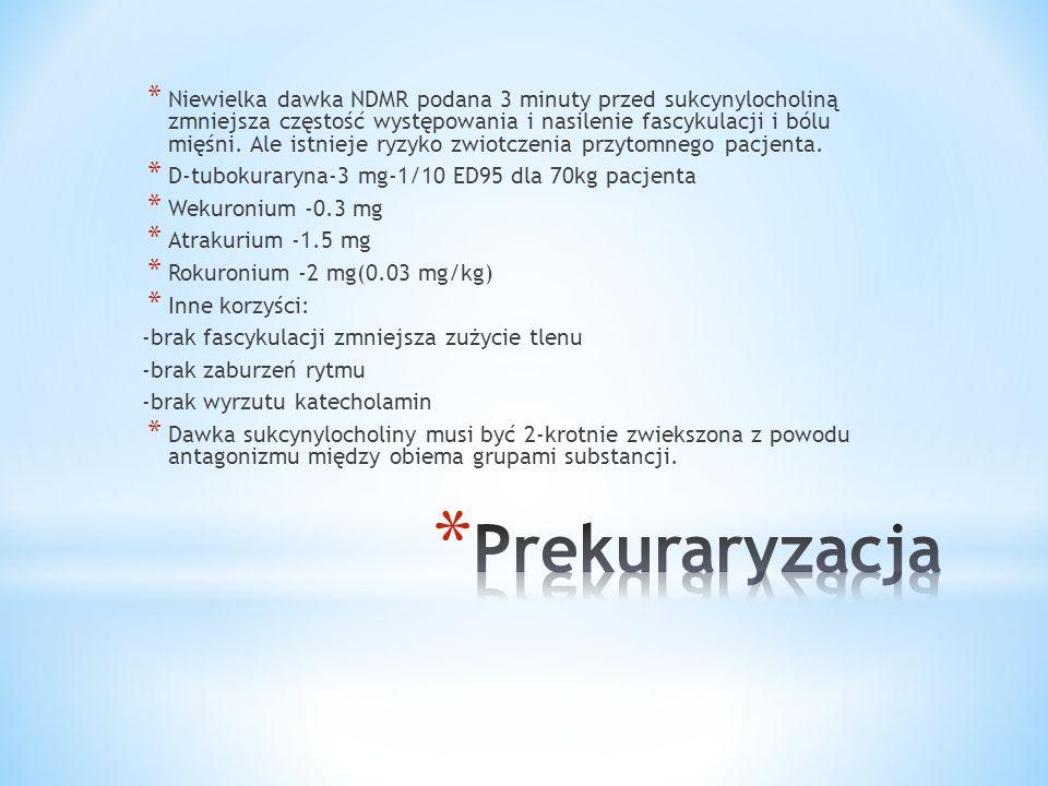 * Niewielka dawka NDMR podana 3 minuty przed sukcynylocholiną zmniejsza częstość występowania i nasilenie fascykulacji i bólu mięśni. Ale istnieje ryz