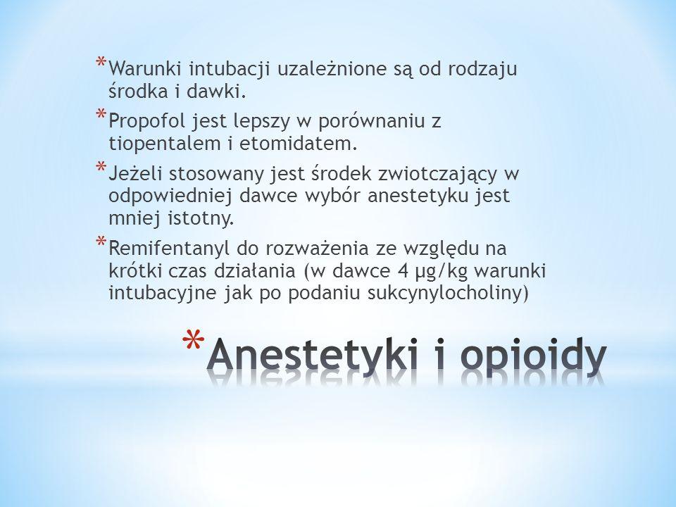 * Warunki intubacji uzależnione są od rodzaju środka i dawki. * Propofol jest lepszy w porównaniu z tiopentalem i etomidatem. * Jeżeli stosowany jest