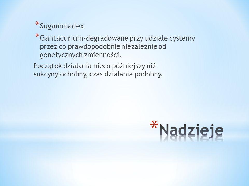 * Sugammadex * Gantacurium- degradowane przy udziale cysteiny przez co prawdopodobnie niezależnie od genetycznych zmienności. Początek działania nieco
