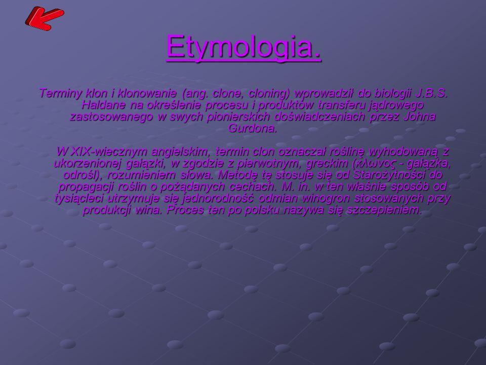 Etymologia. Terminy klon i klonowanie (ang. clone, cloning) wprowadził do biologii J.B.S. Haldane na określenie procesu i produktów transferu jądroweg