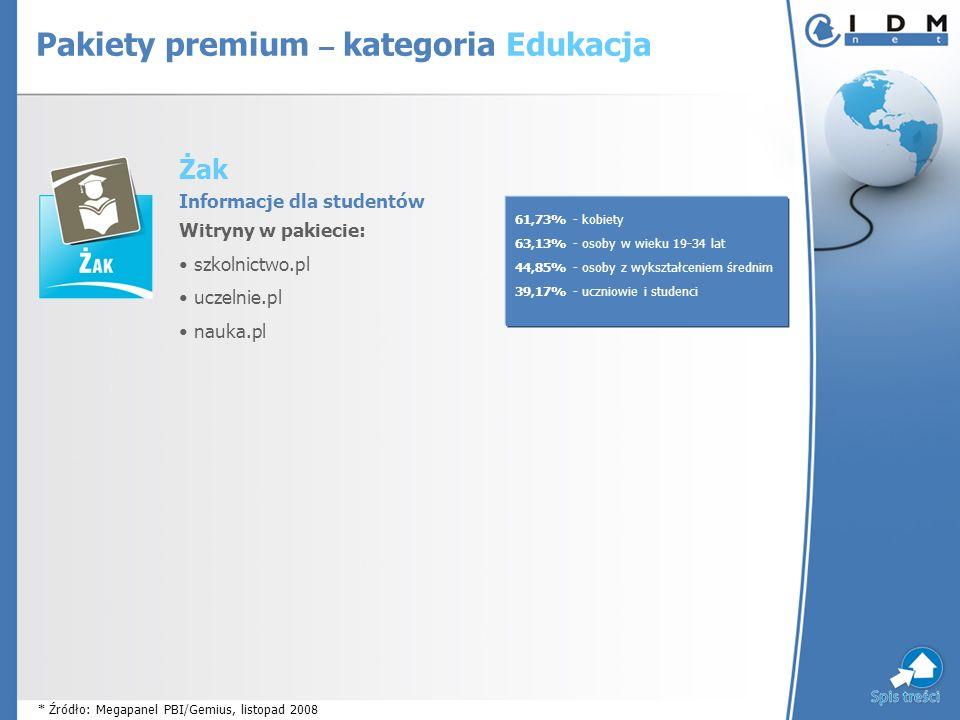 Żak Informacje dla studentów Witryny w pakiecie: szkolnictwo.pl uczelnie.pl nauka.pl 61,73% - kobiety 63,13% - osoby w wieku 19-34 lat 44,85% - osoby z wykształceniem średnim 39,17% - uczniowie i studenci * Źródło: Megapanel PBI/Gemius, listopad 2008 Pakiety premium – kategoria Edukacja
