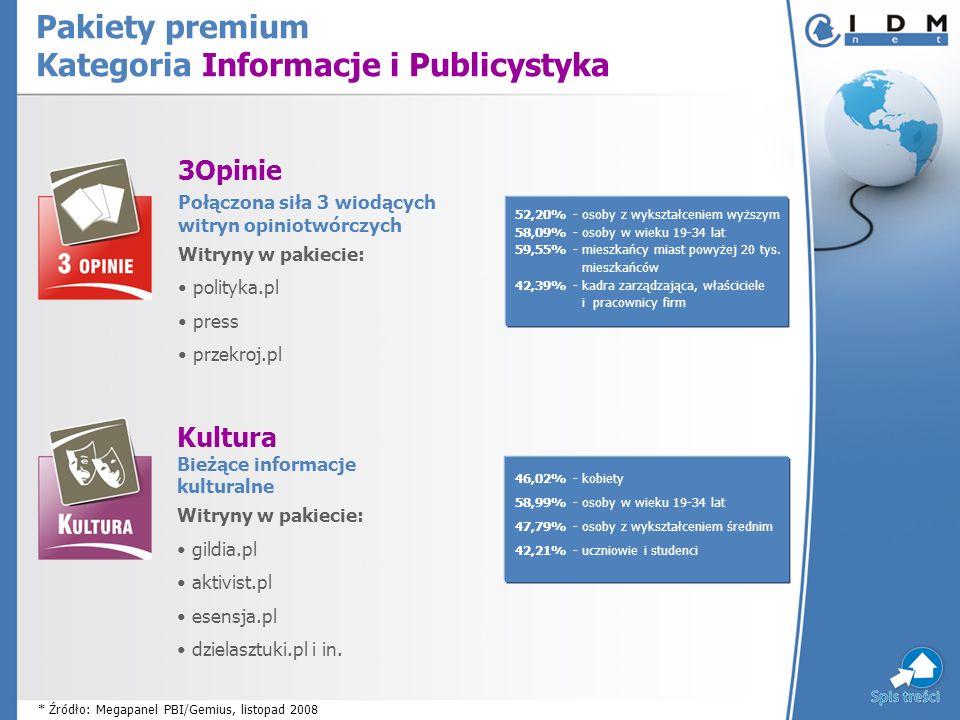 3Opinie Połączona siła 3 wiodących witryn opiniotwórczych Witryny w pakiecie: polityka.pl press przekroj.pl Pakiety premium Kategoria Informacje i Publicystyka Kultura Bieżące informacje kulturalne Witryny w pakiecie: gildia.pl aktivist.pl esensja.pl dzielasztuki.pl i in.