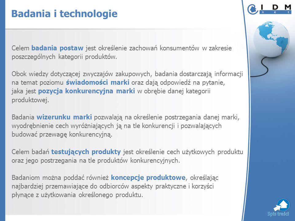 Celem badania postaw jest określenie zachowań konsumentów w zakresie poszczególnych kategorii produktów.
