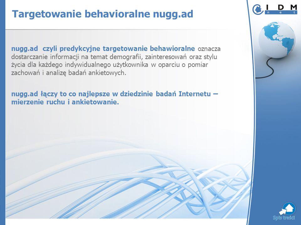 Targetowanie behavioralne nugg.ad nugg.ad czyli predykcyjne targetowanie behawioralne oznacza dostarczanie informacji na temat demografii, zainteresowań oraz stylu życia dla każdego indywidualnego użytkownika w oparciu o pomiar zachowań i analizę badań ankietowych.