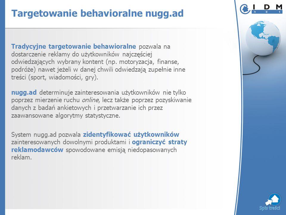 Targetowanie behavioralne nugg.ad Tradycyjne targetowanie behawioralne pozwala na dostarczenie reklamy do użytkowników najczęściej odwiedzających wybrany kontent (np.