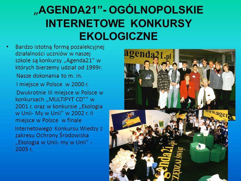 AGENDA21- OGÓLNOPOLSKIE INTERNETOWE KONKURSY EKOLOGICZNE Bardzo istotną formą pozalekcyjnej działalności uczniów w naszej szkole są konkursy Agenda21