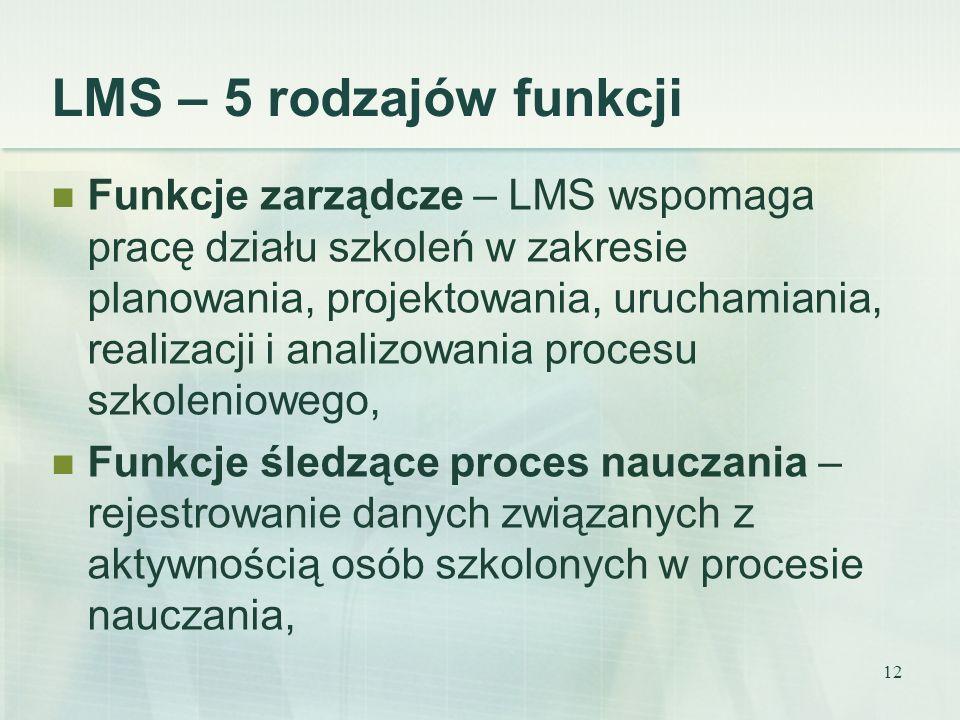 12 LMS – 5 rodzajów funkcji Funkcje zarządcze – LMS wspomaga pracę działu szkoleń w zakresie planowania, projektowania, uruchamiania, realizacji i ana