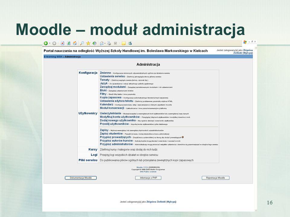 16 Moodle – moduł administracja
