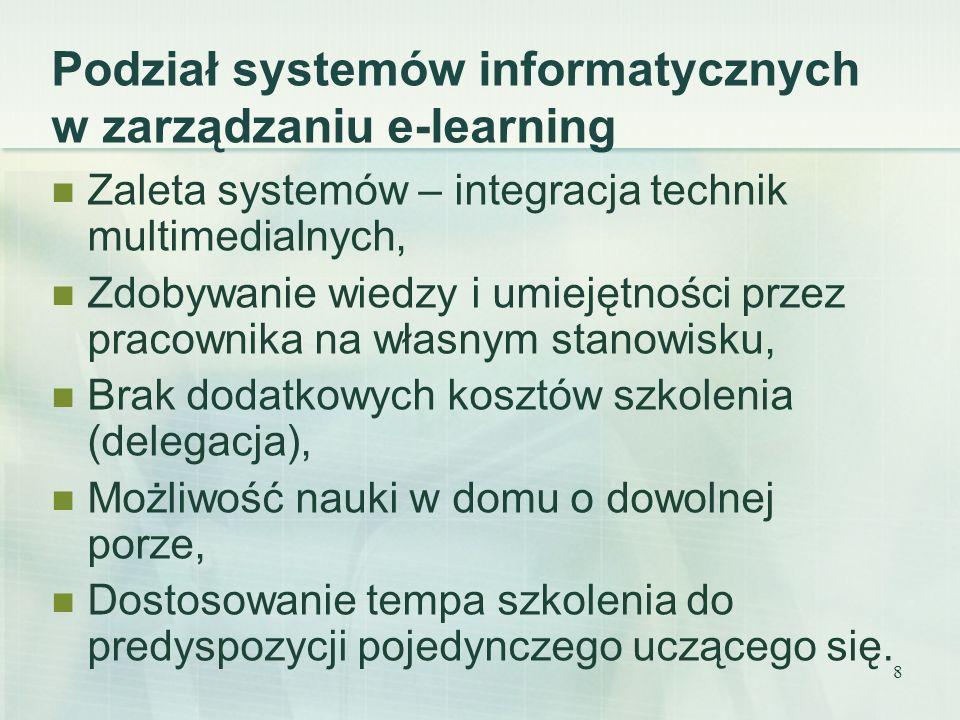 9 Kompleksowe procesy e-learningu Zarządzanie zasobami treści, Dystrybucja materiałów szkoleniowych, Zarządzanie procesem szkoleń, Zarządzanie ludźmi w procesie szkoleń, Udostępnianie treści szkoleniowej online, Śledzenie procesu edukacyjnego, Raportowanie wyników szkolenia, Zdalna komunikacja i współpraca.
