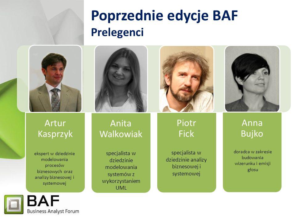 Poprzednie edycje BAF Profil uczestników W poprzednich edycjach udział wzięli przede wszystkim reprezentanci wyższej i średniej kadry zarządzającej, analitycy biznesowi i systemowi oraz pracownicy naukowi.