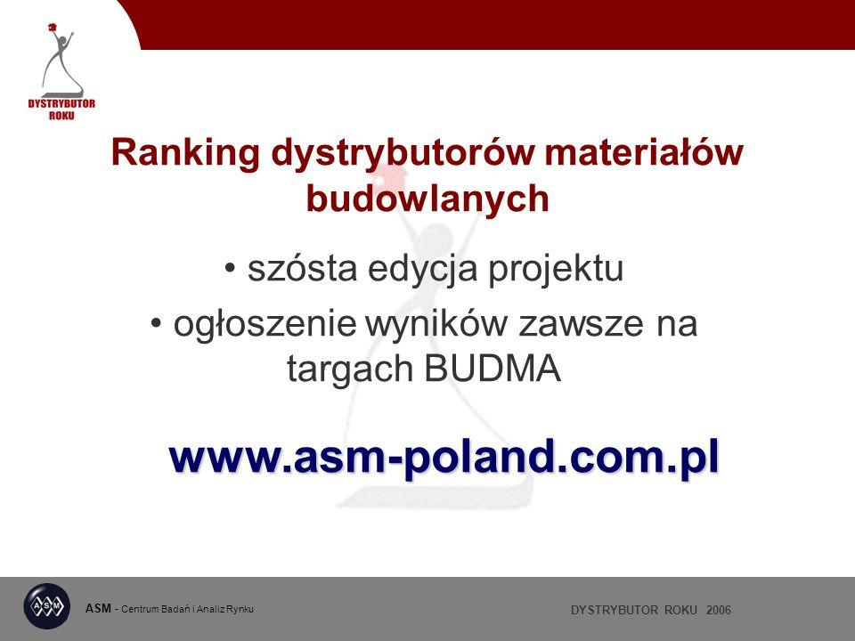 DYSTRYBUTOR ROKU 2006 ASM - Centrum Badań i Analiz Rynku Ranking dystrybutorów materiałów budowlanych szósta edycja projektu ogłoszenie wyników zawsze