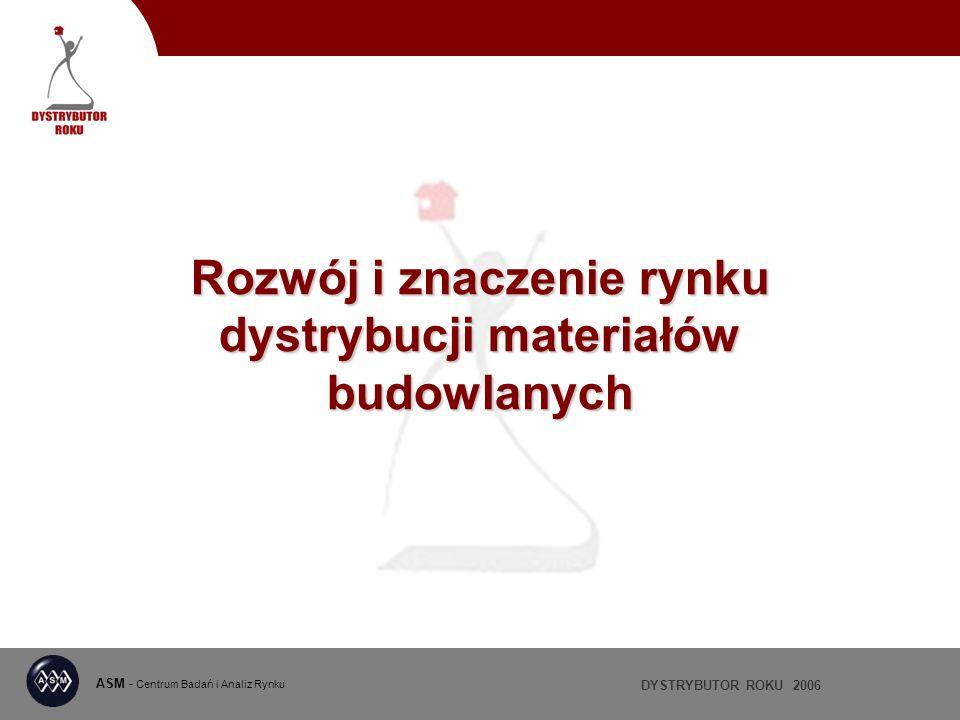 DYSTRYBUTOR ROKU 2006 ASM - Centrum Badań i Analiz Rynku Rozwój i znaczenie rynku dystrybucji materiałów budowlanych