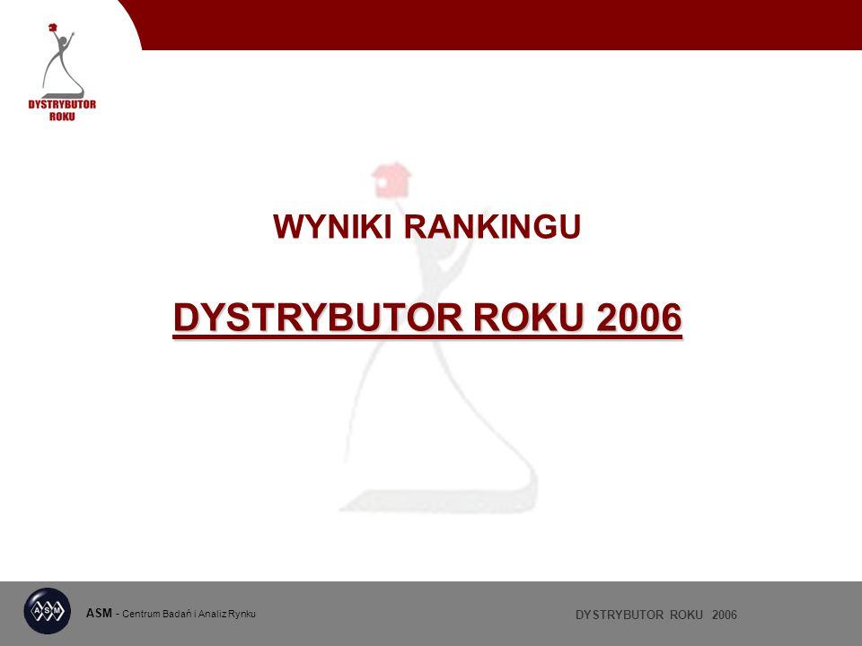 DYSTRYBUTOR ROKU 2006 ASM - Centrum Badań i Analiz Rynku DYSTRYBUTOR ROKU 2006 WYNIKI RANKINGU DYSTRYBUTOR ROKU 2006