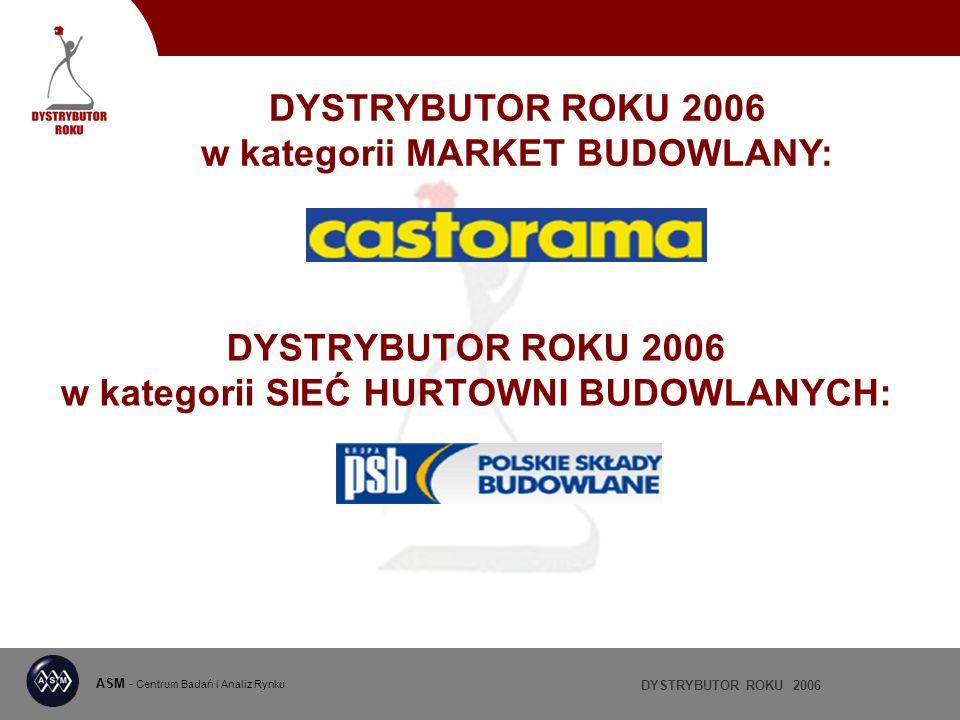 DYSTRYBUTOR ROKU 2006 ASM - Centrum Badań i Analiz Rynku DYSTRYBUTOR ROKU 2006 w kategorii SIEĆ HURTOWNI BUDOWLANYCH: DYSTRYBUTOR ROKU 2006 w kategori