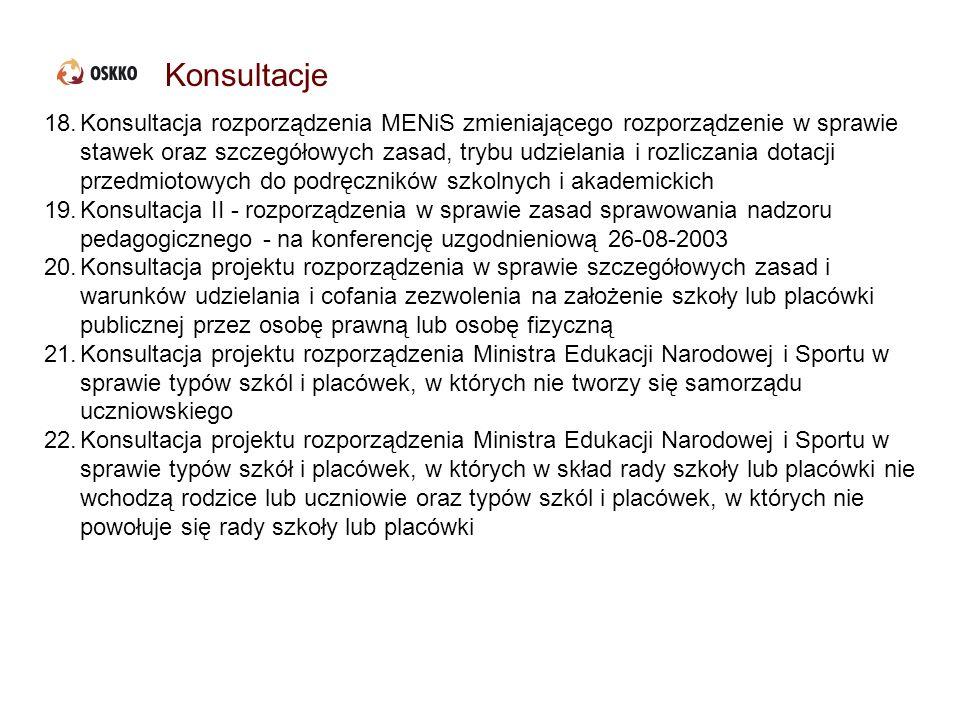 Konsultacje 18.Konsultacja rozporządzenia MENiS zmieniającego rozporządzenie w sprawie stawek oraz szczegółowych zasad, trybu udzielania i rozliczania