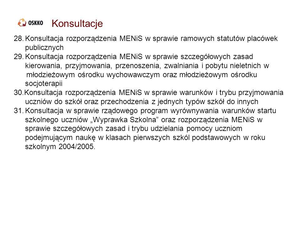 Konsultacje 28.Konsultacja rozporządzenia MENiS w sprawie ramowych statutów placówek publicznych 29.Konsultacja rozporządzenia MENiS w sprawie szczegó
