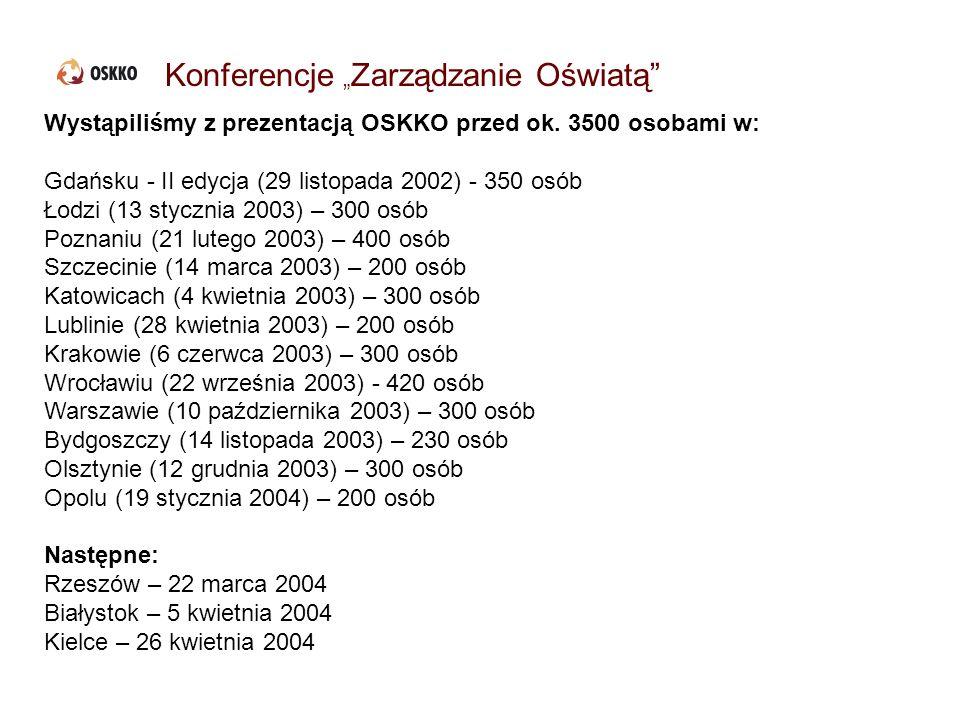 Konferencje Zarządzanie Oświatą Wystąpiliśmy z prezentacją OSKKO przed ok. 3500 osobami w: Gdańsku - II edycja (29 listopada 2002) - 350 osób Łodzi (1