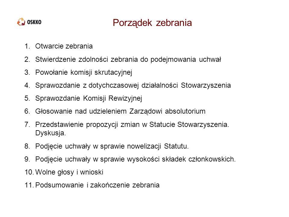 Sprawozdanie prezesa i dyrektora Biura OSKKO z dotychczasowej działalności Stowarzyszenia
