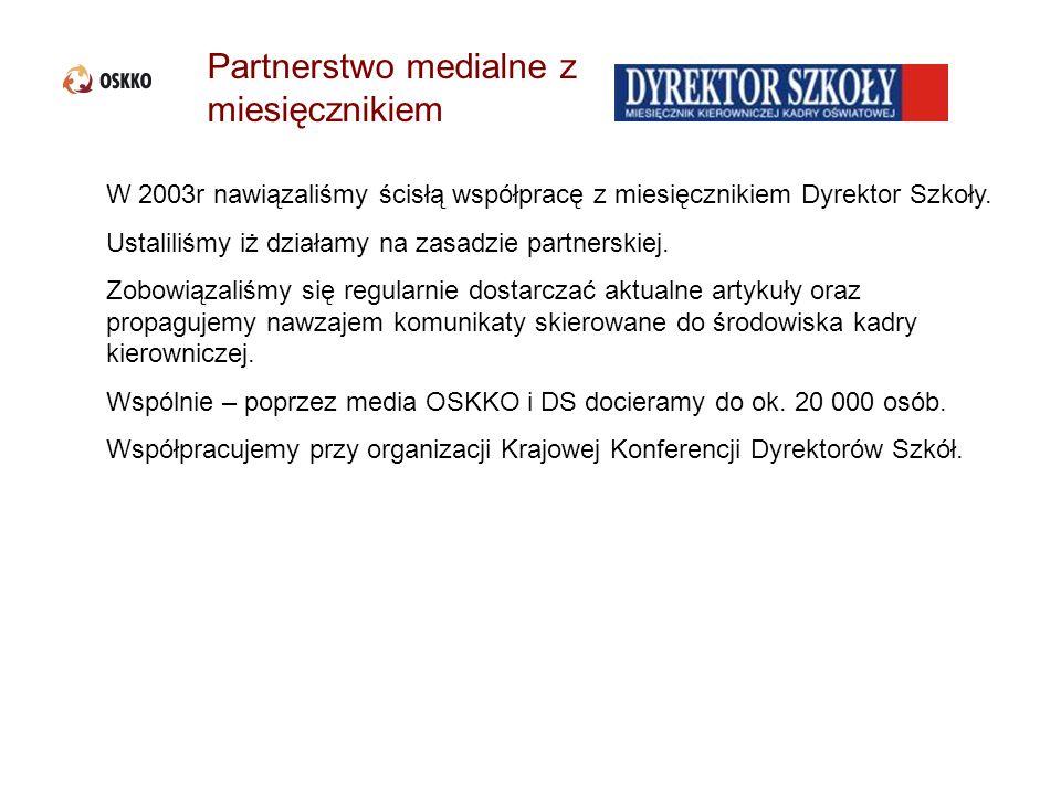 Partnerstwo medialne z miesięcznikiem W 2003r nawiązaliśmy ścisłą współpracę z miesięcznikiem Dyrektor Szkoły. Ustaliliśmy iż działamy na zasadzie par