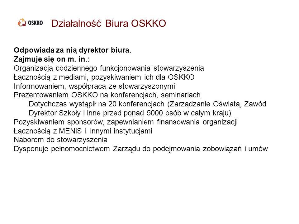 Działalność Biura OSKKO Odpowiada za nią dyrektor biura. Zajmuje się on m. in.: Organizacją codziennego funkcjonowania stowarzyszenia Łącznością z med