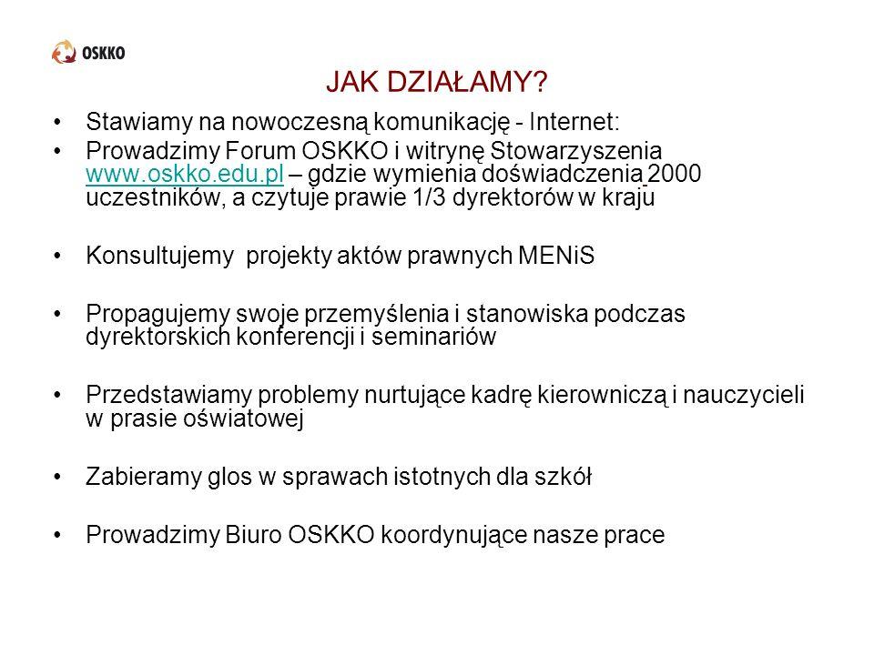 JAK DZIAŁAMY? Stawiamy na nowoczesną komunikację - Internet: Prowadzimy Forum OSKKO i witrynę Stowarzyszenia www.oskko.edu.pl – gdzie wymienia doświad