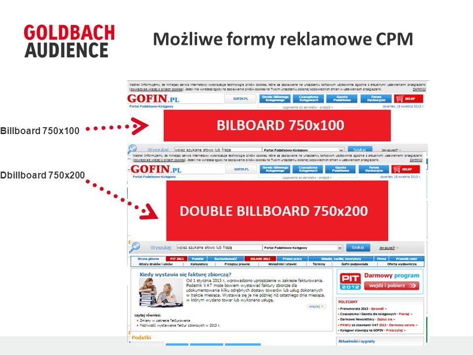 Możliwe formy reklamowe CPM Billboard 750x100 Dbillboard 750x200