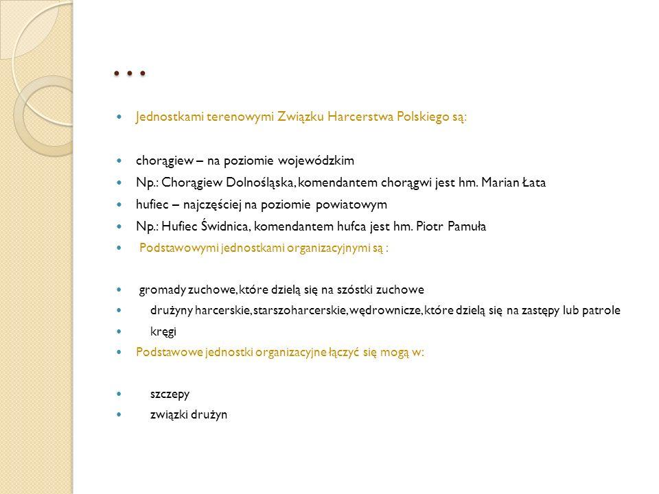 … Jednostkami terenowymi Związku Harcerstwa Polskiego są: chorągiew – na poziomie wojewódzkim Np.: Chorągiew Dolnośląska, komendantem chorągwi jest hm