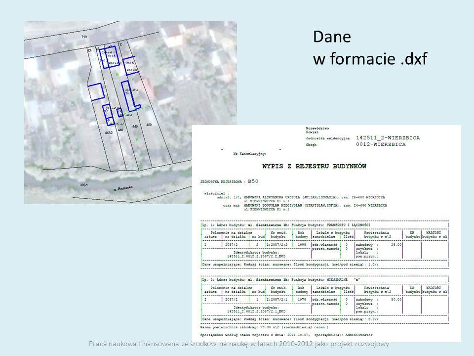 Dane w formacie.dxf Praca naukowa finansowana ze środków na naukę w latach 2010-2012 jako projekt rozwojowy