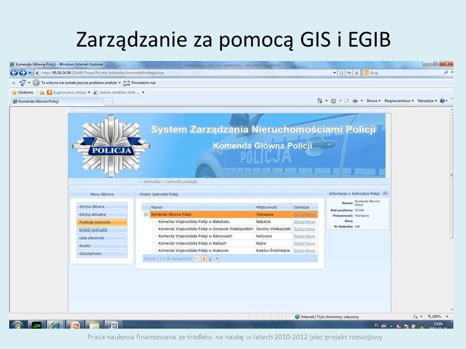 Zarządzanie za pomocą GIS i EGIB Praca naukowa finansowana ze środków na naukę w latach 2010-2012 jako projekt rozwojowy