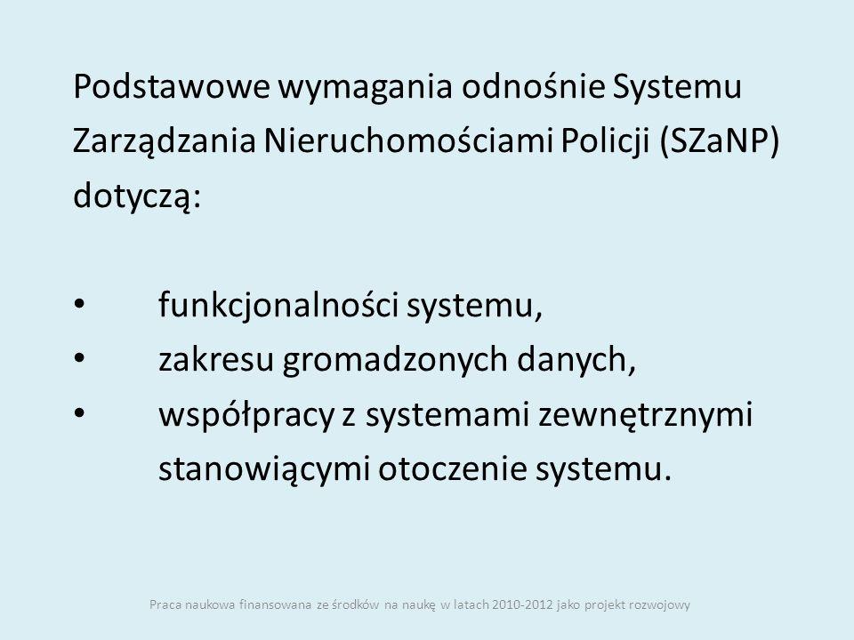 Podstawowe wymagania odnośnie Systemu Zarządzania Nieruchomościami Policji (SZaNP) dotyczą: funkcjonalności systemu, zakresu gromadzonych danych, wspó
