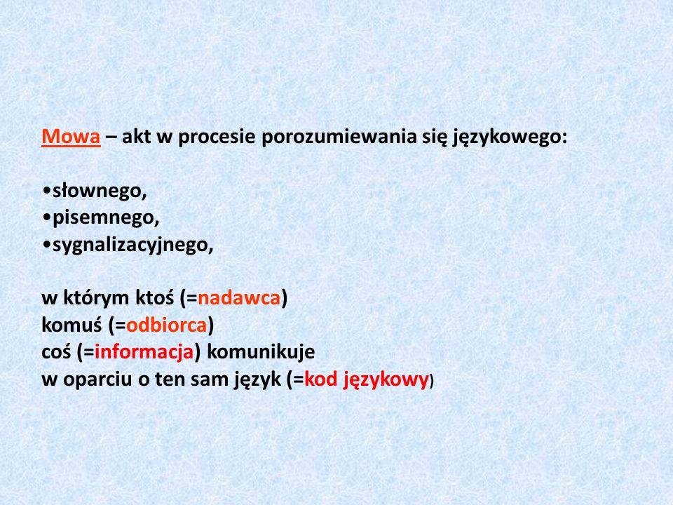 Mowa – akt w procesie porozumiewania się językowego: słownego, pisemnego, sygnalizacyjnego, w którym ktoś (=nadawca) komuś (=odbiorca) coś (=informacj