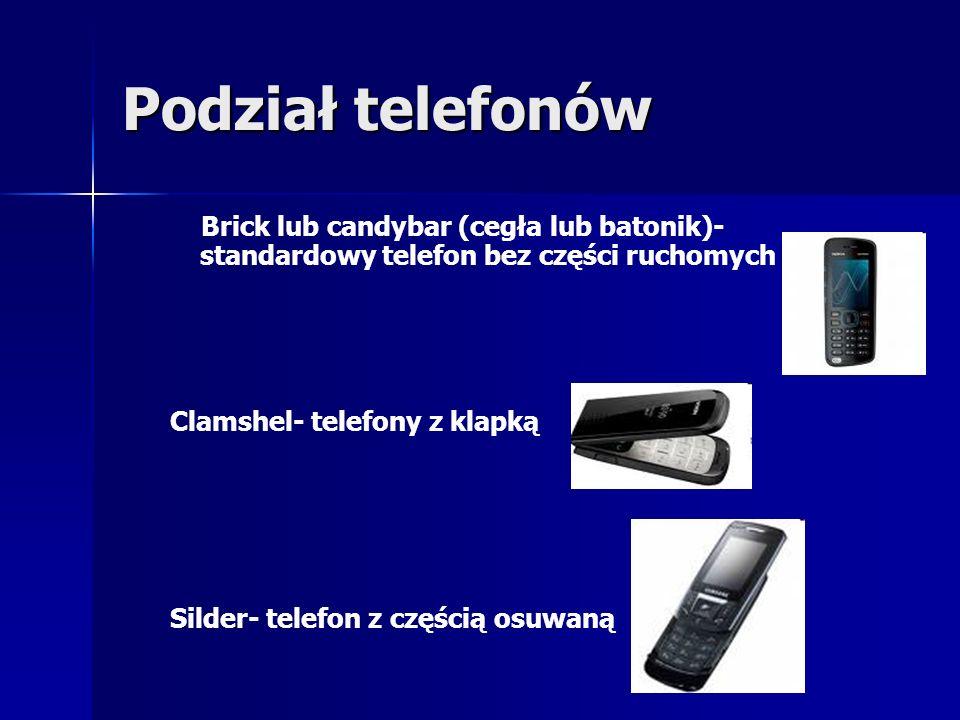 Podział telefonów Brick lub candybar (cegła lub batonik)- standardowy telefon bez części ruchomych Clamshel- telefony z klapką Silder- telefon z częśc