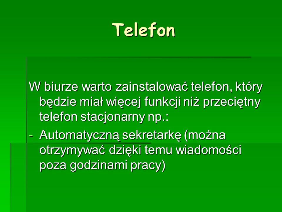 Telefon W biurze warto zainstalować telefon, który będzie miał więcej funkcji niż przeciętny telefon stacjonarny np.: -A-A-A-Automatyczną sekretarkę (