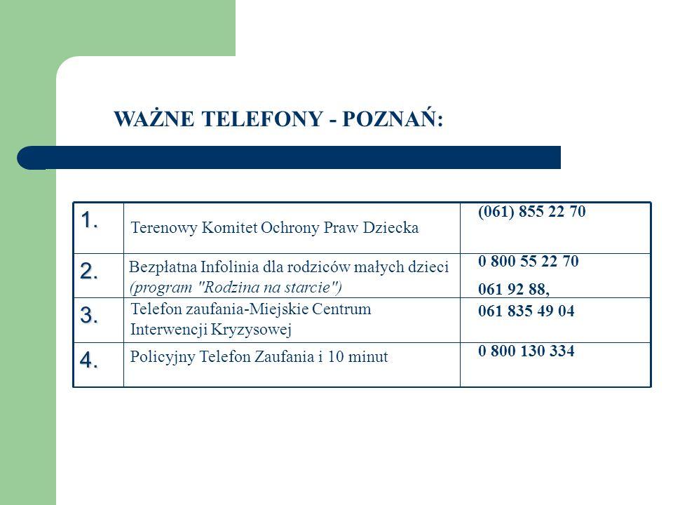 WAŻNE TELEFONY - POZNAŃ:1.2. 3. 4. Terenowy Komitet Ochrony Praw Dziecka (061) 855 22 70 Bezpłatna Infolinia dla rodziców małych dzieci (program