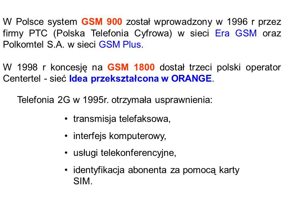 W Polsce system GSM 900 został wprowadzony w 1996 r przez firmy PTC (Polska Telefonia Cyfrowa) w sieci Era GSM oraz Polkomtel S.A. w sieci GSM Plus. W