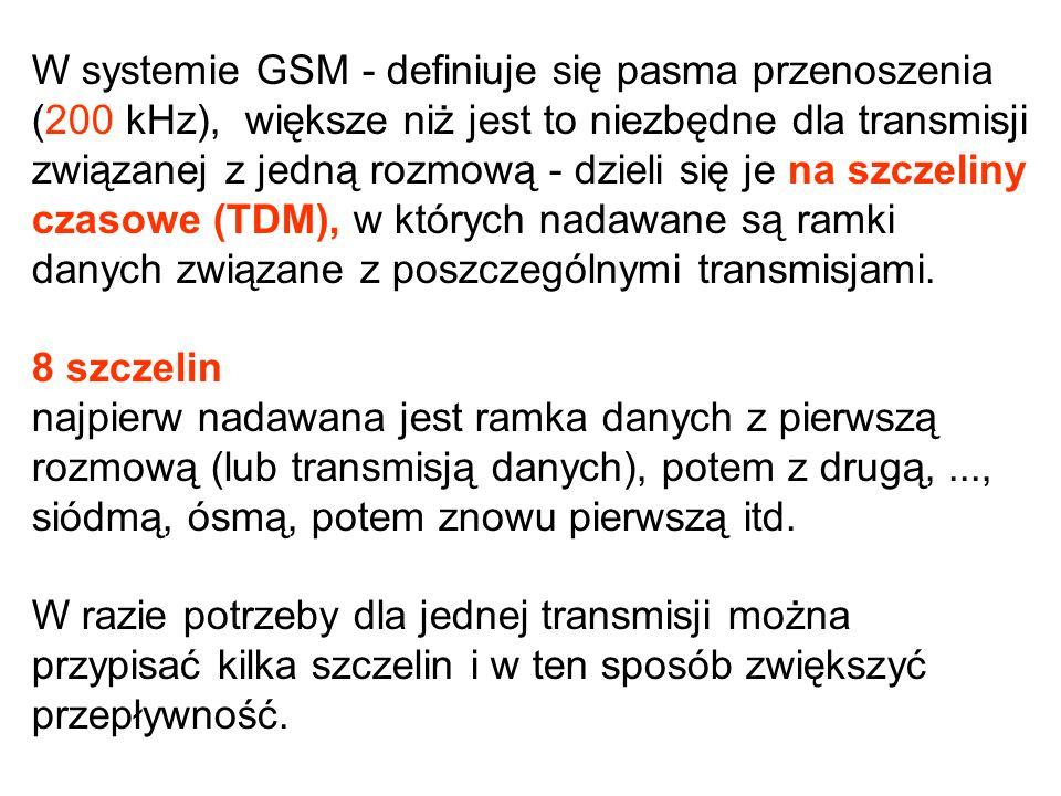 W systemie GSM - definiuje się pasma przenoszenia (200 kHz), większe niż jest to niezbędne dla transmisji związanej z jedną rozmową - dzieli się je na