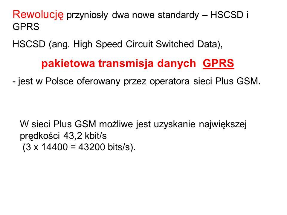 Rewolucję przyniosły dwa nowe standardy – HSCSD i GPRS HSCSD (ang.
