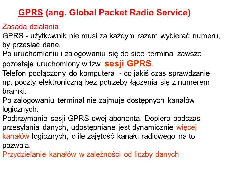 Zasada działania GPRS - użytkownik nie musi za każdym razem wybierać numeru, by przesłać dane. Po uruchomieniu i zalogowaniu się do sieci terminal zaw