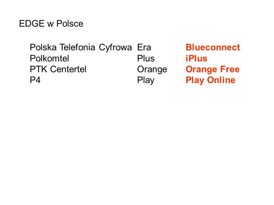 EDGE w Polsce Polska Telefonia CyfrowaEraBlueconnect PolkomtelPlusiPlus PTK CentertelOrangeOrange Free P4PlayPlay Online