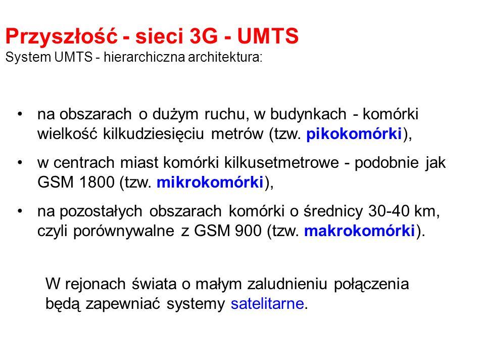Przyszłość - sieci 3G - UMTS System UMTS - hierarchiczna architektura: na obszarach o dużym ruchu, w budynkach - komórki wielkość kilkudziesięciu metr