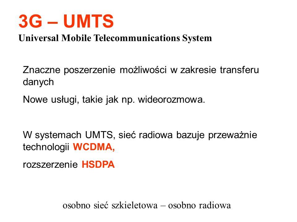 Znaczne poszerzenie możliwości w zakresie transferu danych Nowe usługi, takie jak np. wideorozmowa. W systemach UMTS, sieć radiowa bazuje przeważnie t
