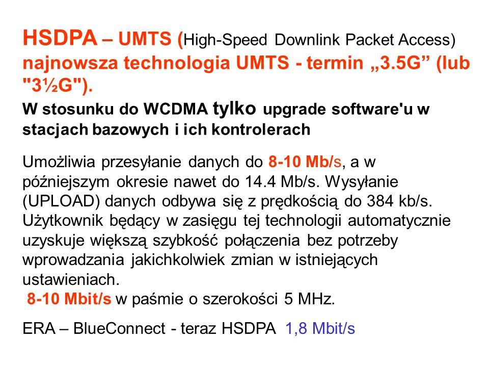 Umożliwia przesyłanie danych do 8-10 Mb/s, a w późniejszym okresie nawet do 14.4 Mb/s. Wysyłanie (UPLOAD) danych odbywa się z prędkością do 384 kb/s.