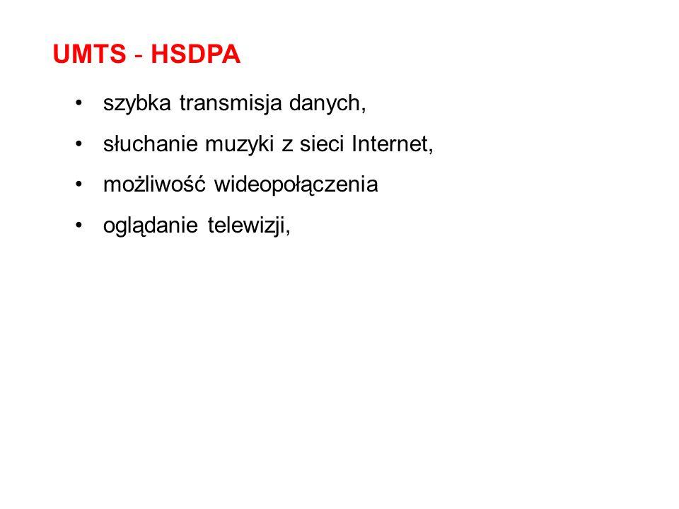 UMTS - HSDPA szybka transmisja danych, słuchanie muzyki z sieci Internet, możliwość wideopołączenia oglądanie telewizji,