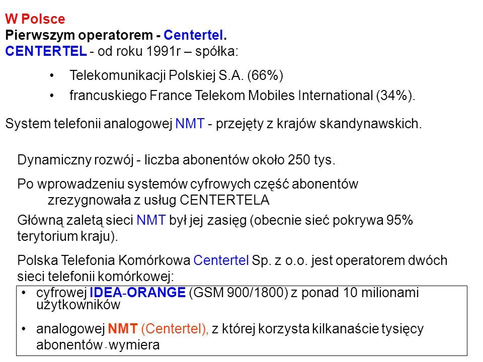 W Polsce Pierwszym operatorem - Centertel. CENTERTEL - od roku 1991r – spółka: Główną zaletą sieci NMT był jej zasięg (obecnie sieć pokrywa 95% teryto